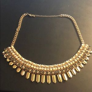 NEW Gold Statement Necklace w/ Smoke color stones
